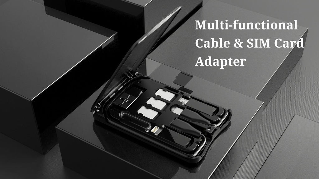 GadgetiCloud Portable Multi functional Cable SIM Card Adapter card size portable cable storage wireless charging cover photo
