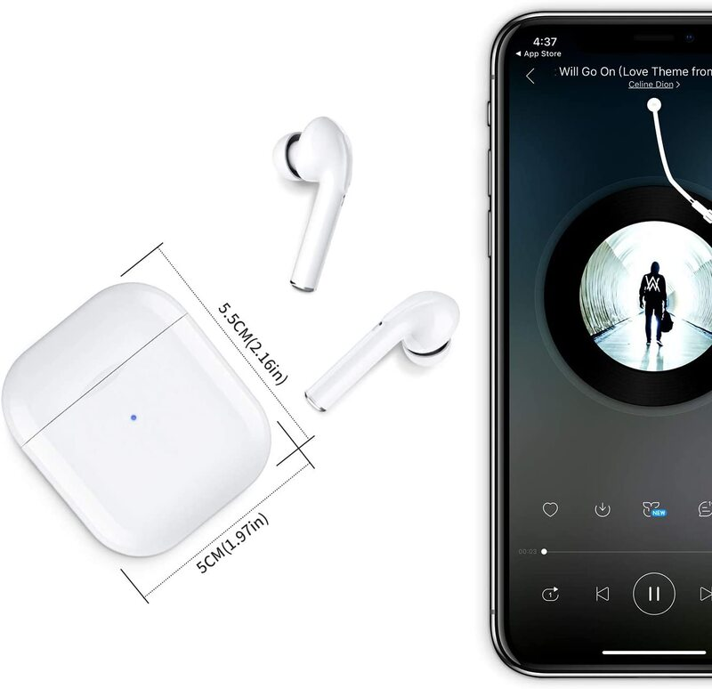 Wireless Earbuds, your true Bluetooth 5.0 stereo wireless headset, with charging case and built-in microphone, mini Hi-Fi in-ear stereo waterproof earphones