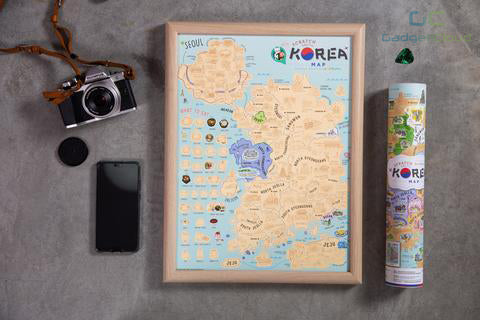 Good Weather Korea Scratch Travel Map with frame Travel to Korea deluxe luckies world travel map with pins europe uk rosegold small personalised Scratch Off Traveling Korea travelization 韓國 刮刮地圖 刮刮樂 世界地圖 - GadgetiCloud