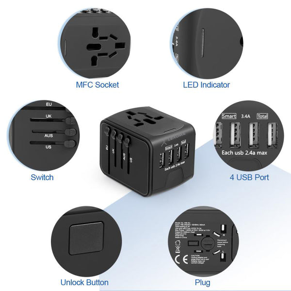 Universal Travel Adapter UTA-1440 All in One Worldwide Charger for US EU UK AUS with 4 USB Port epicka verbatim european outlet momax insignia global kit bez hyleton worldwide targus APK032us eagle creek foval power step down voltage power converter target 旅行萬用插頭 轉換插座 USB 充電插頭 features – GadgetiCloud