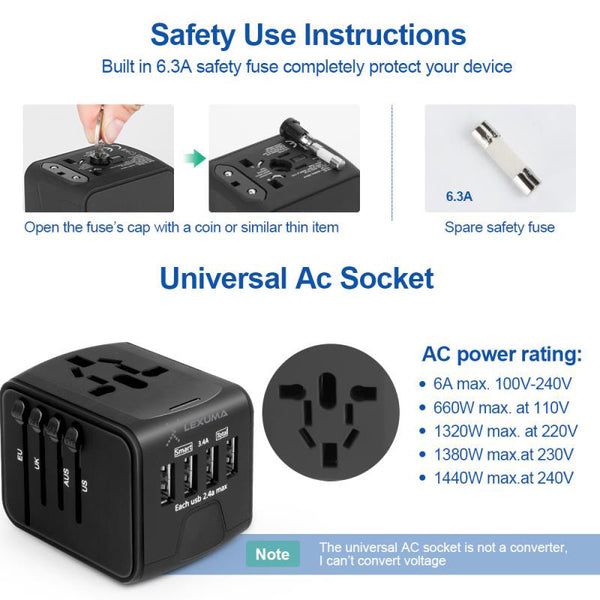 Insignia International Worldwide Travel Adapter with USB Port New In Box