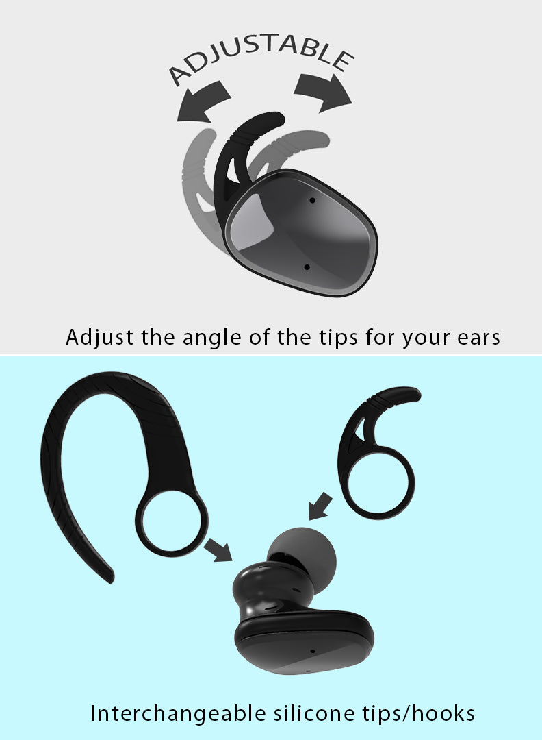 GadgetiCloud Lexuma XBud2 True Wireless In-Ear Bluetooth IP56 Sports Earbuds with sweat proof function and Bluetooth 5.0 technology [With 2600 Charging Case]hooks can be adjusted and change the angle of the silicone tips to fit our ear