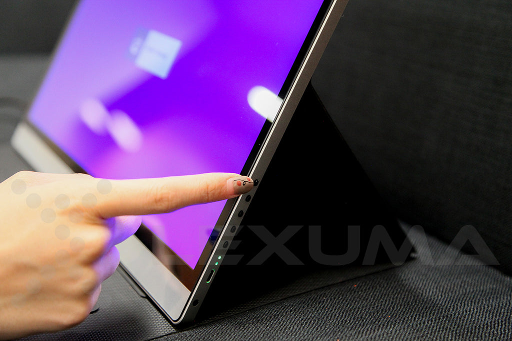 Lexuma XScreen Portable monitor 15.6 inch with touch screen blog 1080P vs 4k differences navigation button turn on off