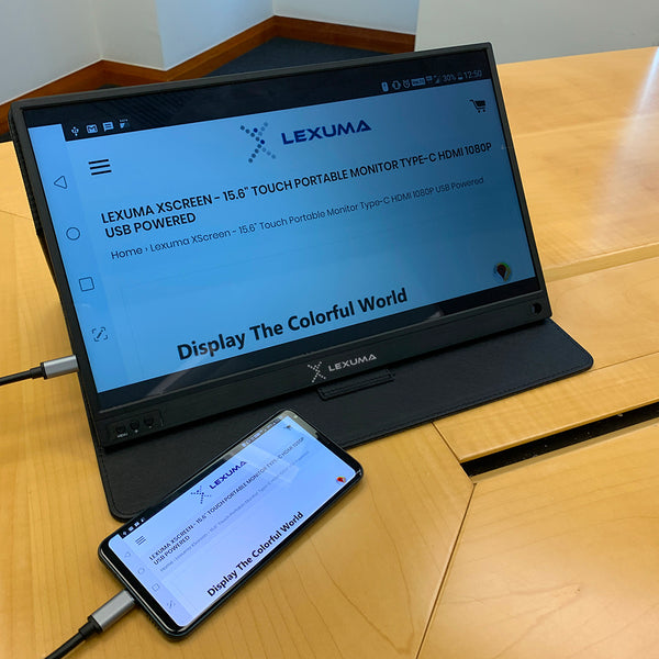 GadgetiCloud lexuma xscreen portable monitor with touch screen unboxing connection to phone