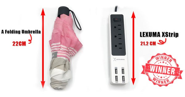 Lexuma XStrip XPS-SB1340 3 Gang US 15A Socket Mini USB Power Strip with 4 USB 5V 6A Quick Charge 3.0 Ports Overload Surge Protector Protected Standard 3-Outlets All-in-one Wholesale Certificated 3 Electric US plugs Plus Fast Charging Station Multi-Outlets White AC Plugs and Extension Cord Travel Size Power Strip GadgetiCloud 辣數碼 美規拖板 美規排插 插座 USB拖板 3頭美規拖板 迷你拖板 旅行拖板 Comparision portable size for travels