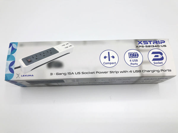 GadgetiCloud Lexuma 辣數碼 XStrip USB Power Strip US-Style Unbox paackage content