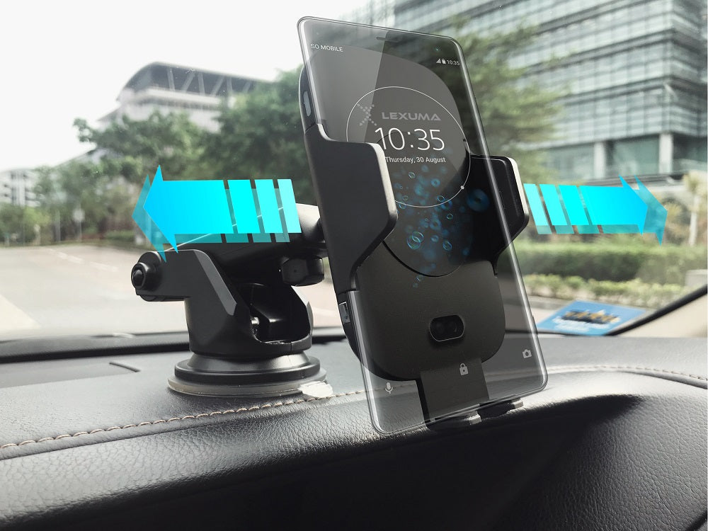 Lexuma Xmount ACM-1009 Automatic Infrared Sensor Qi fast charging Wireless Car Charger Mount for iPhone Xs Samsung S10 E S9 S8 Plus mobile device phone accessories Vehicle phone holder Car Cradles adapter with infrared motion sensor Charging Dock Easy One touch One Tap Auto-Sensor Auto-Clamping Auto-Lock Safety First Cell Phone Car Air Vent Holder Safety on road 4 Dash Smartphone dashboard GadgetiCloud All-in-one Universal Adjustable Car Mount 智能感應車架 無線充電車架 車用電話架 電話座 手機架