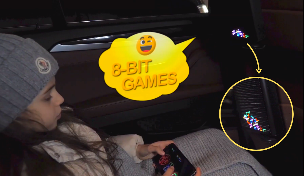 Mojipic led car display 8 bit game display connect smartphone through bluetooth