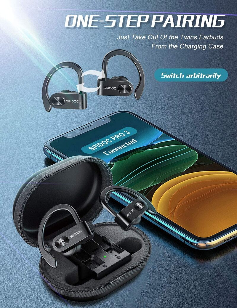 Spidoc Wireless Bluetooth Earbuds, with built-in microphone and charging case, Bluetooth 5.0 deep bass HiFi stereo in-ear true wireless headset, auto-pairing Bluetooth headphones binaural call earphones