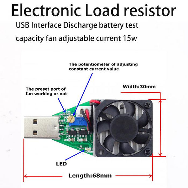 USB Interface Discharge battery test capacity fan adjustable current 15w 409 shop