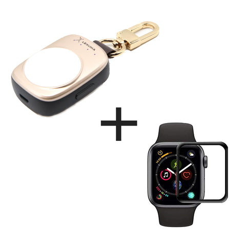 Apple Watch Power Bank key chain XTAG and Apple Watch XPROTEK 3D Tempered Glass Screen Protector Combo - GadgetiCloud iWatch Protector protective cover with Black Edges Anti Scratch tempered glass protective films apple watch accessories discount combo