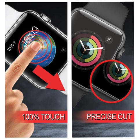 GadgetiCloud Apple Watch Screen Protector Transparent Glass Screen Film 38mm/42mm/40mm/44mm (Series 1,2,3,4) Apple Watch 3D Glass protective cover with iWatch Anti Scratch High Quality 9h tempered glass protective Films HD and Thin scatchproof Anti-Glare Anti-scrtach GadgetiCloud Apple Watch Accessories 蘋果手錶保護貼 iWatch保護貼 iWatch玻璃貼 apple watch series 4保護貼 保護殼 抗刮 屏幕保護貼 強化玻璃貼 sensitive touch and precise cutting