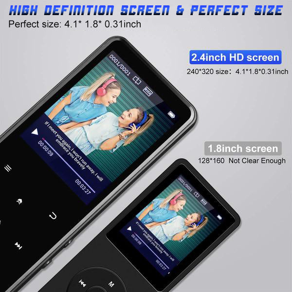 "Portable Bluetooth MP3 Player with 2.4"" Large Screen MP3 walkman bluetooth earphones best sound quality affordable sandisk Grtdhx Chenfec AGPTEK victure m3 competition large screen   - GadgetiCloud"