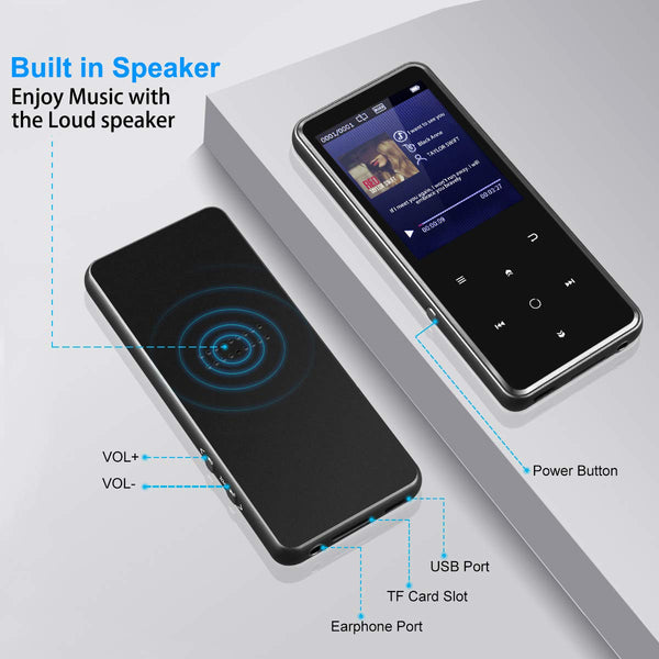 "Portable Bluetooth MP3 Player with 2.4"" Large Screen MP3 walkman bluetooth earphones best sound quality affordable sandisk Grtdhx Chenfec AGPTEK victure m3 built in speakers aux port info details - GadgetiCloud"