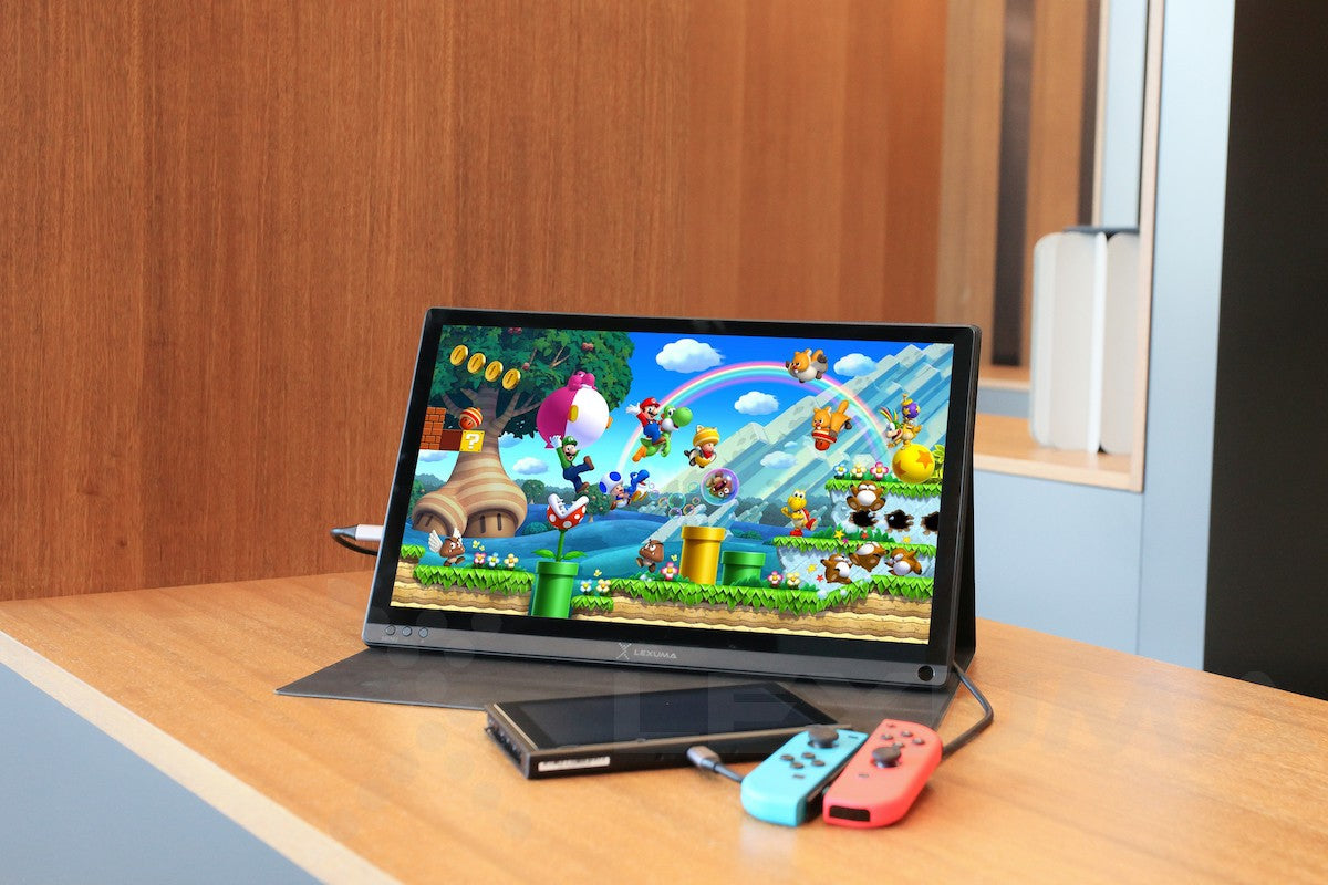 gadgeticloud-Lexuma-XScreen-DUO-Nintendo-Switch-gaming-monitor-with-built-in-speaker-animal-crossing