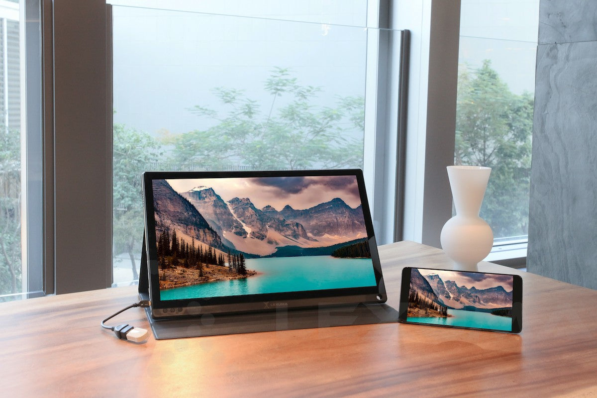 gadgeticloud-Lexuma-XScreen-duo-15.6-fhd-portable-monitor-dual-connection-methods-wired-connection-with-phone