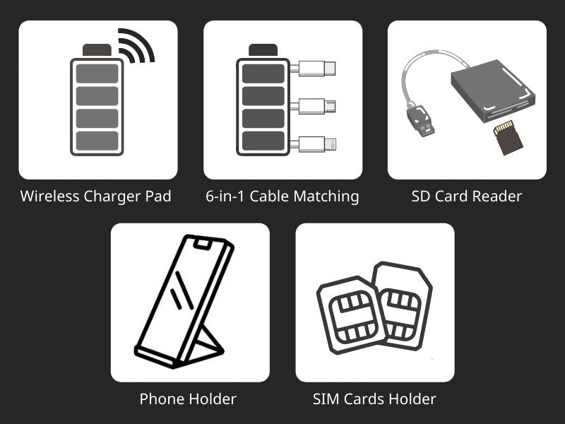 imartcity electronic gadgets collection -SIM-Card-Connection-Kit-Wireless-Charging-Pad-and-Cables-for-Smartphone-with-Nano-SIM-Card-Storage-Slots-and-SIM-Card-Ejector