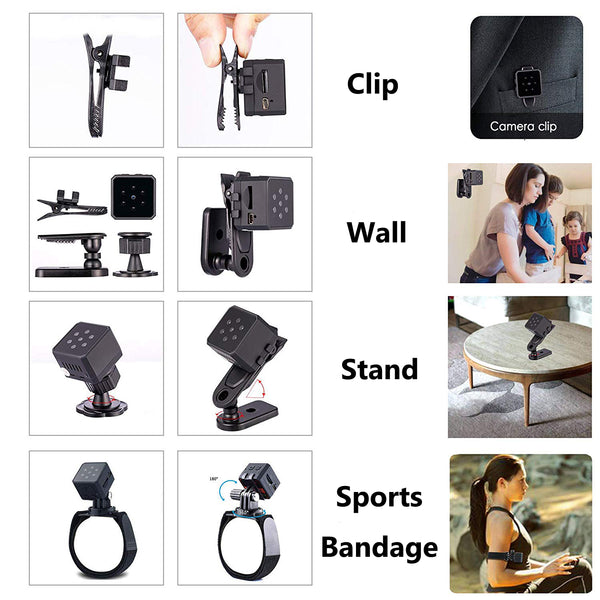 Lexuma XCAM SEC-C220 thumb-size mini security camera with night vision motion detection HD 1080P recording portable HD IP cam hidden Spy IP CCTV Cam small Tinny ThumbSize nanny Tiny Covert Cube Cam features Wifi NIYPS AOBO SQ - GadgetiCloud clips magnetic stand wall mount