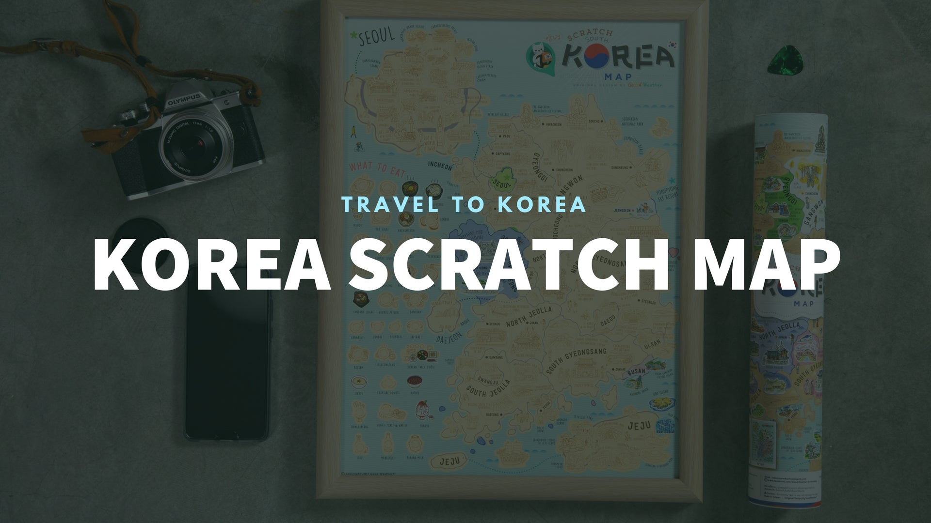 Good Weather Korea Scratch Travel Map with frame Travel to Korea deluxe luckies world travel map with pins europe uk rosegold small personalised Scratch Off Traveling Korea travelization 韓國 刮刮地圖 刮刮樂 世界地圖 banner - GadgetiCloud