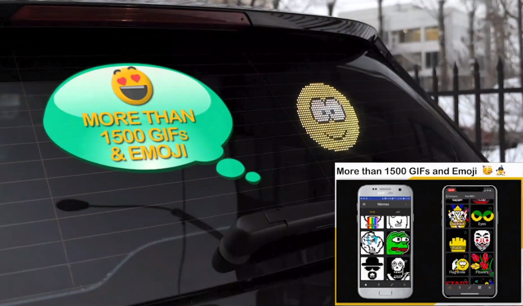Mojipic led voice-controlled car display with over 1500 gifs and emojis