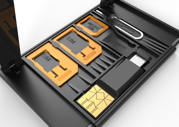 Sim Card Case Holder - 3 in 1 Sim Adapters, Nano Storage Slot with TF Card Reader