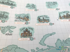 iMartCity World scratch map comparison deluxe map travel map world map scratch off map travel worldwide landmarks