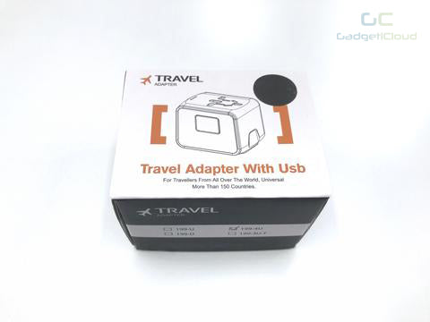 Universal travel adapter with USB port - GadgetiCloud package eu us uk au plug