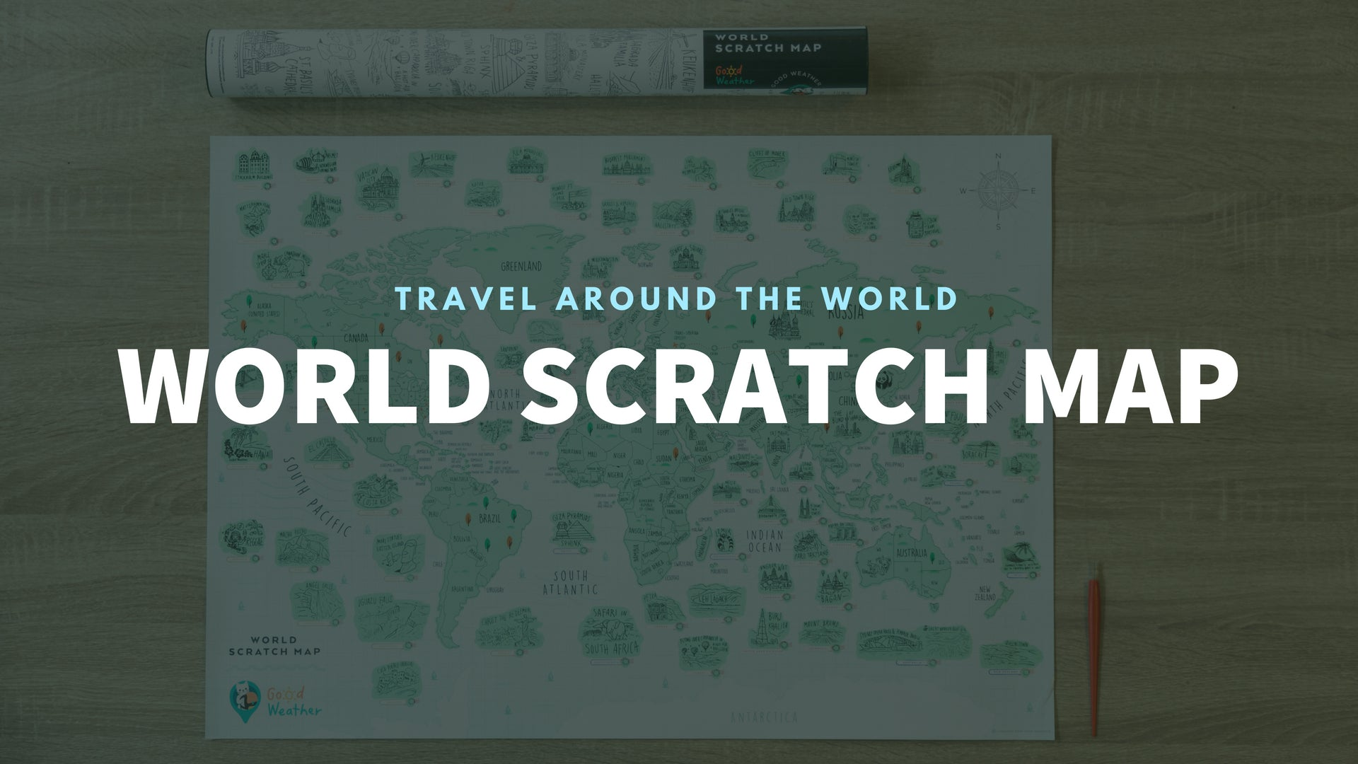 GadgetiCloud Good Weather World Scratch Travel Map Travel around the World deluxe luckies world travel map with pins europe uk rosegold small personalised Scratch Off Traveling World Map travelization 刮刮地圖 刮刮樂 世界地圖 刮刮世界地圖 banner