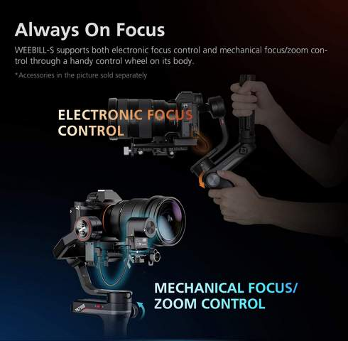 ZHIYUN Weebill-S Compact 3-Axis Handheld Gimbal Stabilizer for Mirrorless and DSLR Cameras & Lens Combos  always on focus