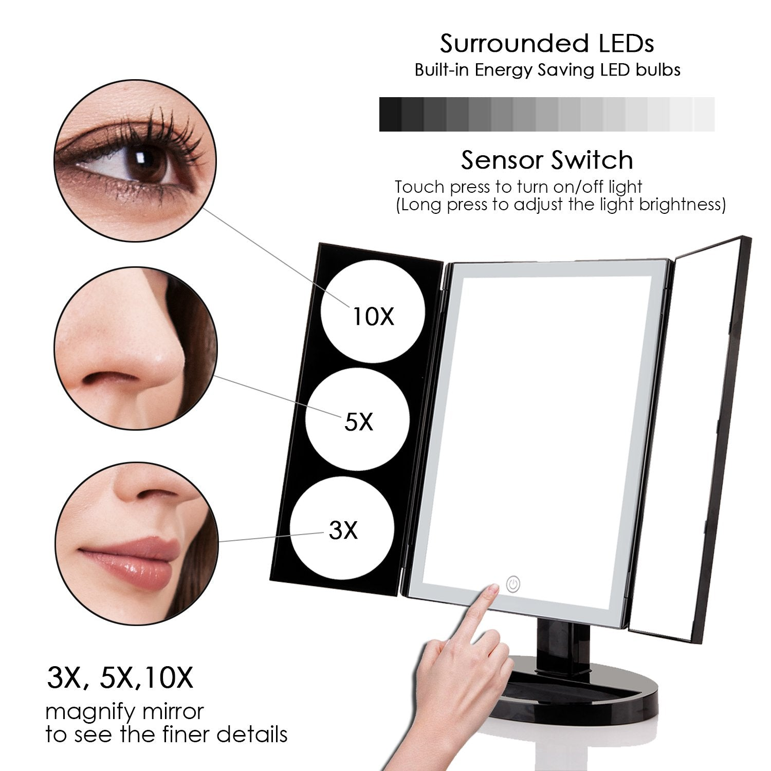 Large Lighted Trifold Vanity Makeup Mirror 3x 5x 10x Magnification