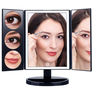Large Lighted Trifold Vanity Makeup Mirror - 3X 5X 10X Magnification - GadgetiCloud
