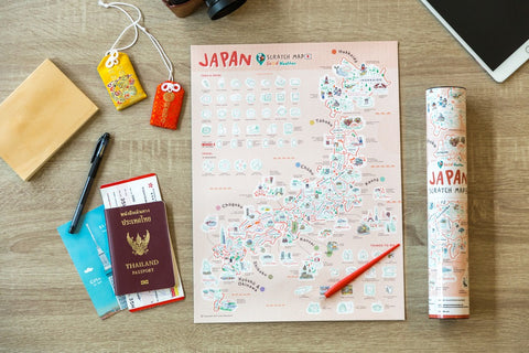 Japan Scratch Travel Map - Travel to Japan - GadgetiCloud Scratch Off Traveling World Map 刮刮地圖 刮刮樂 日本地圖 Colorful map poster Best interesting gift by Good Weather