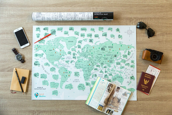 World Scratch Off Travel Map Personalized Poster