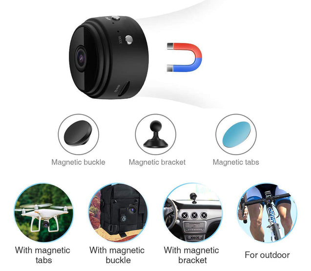 Mini 1080P Wireless Night Vision Security Camera with 150° Wide-Angle Lens by Lexuma - GadgetiCloud