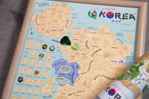 Korea Korean scratch map - Gadgeticloud Scratch Off Traveling World Map 刮刮地圖 刮刮樂 韓國地圖 Colorful map poster Best gift by Good Weather