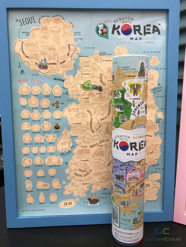 Korea Scratch Travel Map with Frame - GadgetiCloud