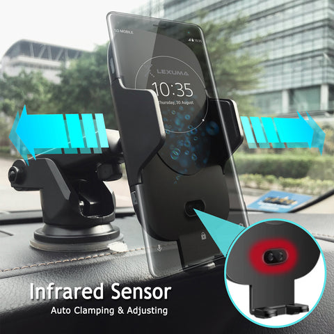 Image of Automatic Infrared Sensor Qi Wireless Car Charger Mount - GadgetiCloud
