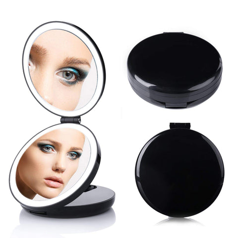 Image of LED Lighted 3-fold Travel Compact Makeup Mirror - 1X/7X Magnification USB Powered - GadgetiCloud