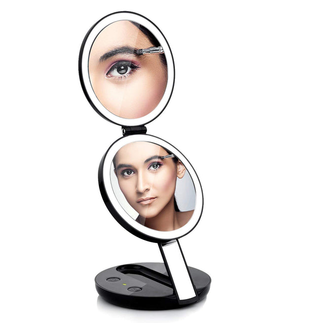 LED Lighted 3-fold Travel Compact Makeup Mirror - 1X/7X Magnification USB Powered - GadgetiCloud