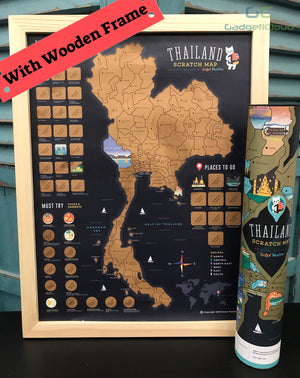 Thailand Scratch Travel Map with Frame - GadgetiCloud