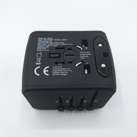 Universal Travel Adapter - All in One Worldwide Charger for US EU UK AUS with 4 USB Port - GadgetiCloud