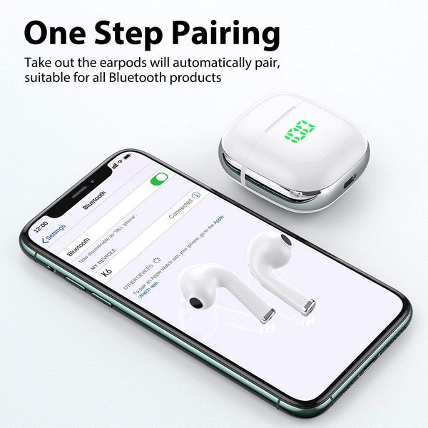 VEATOOL Wireless earbuds, Bluetooth 5.0 earphones with wireless charging case, touch control and built-in microphone waterproof in-ear true stereo earpods, single twin mode headphones