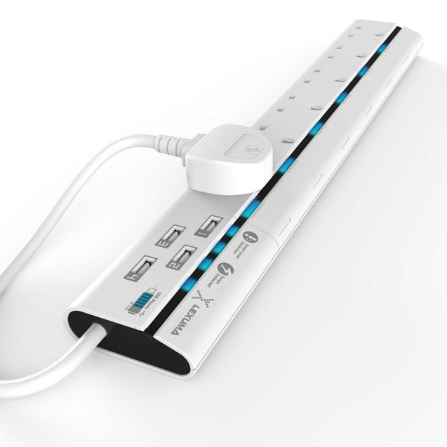 Lexuma XStrip – 6 Gang UK Surge Protector Power Strip with 4 USB Ports - GadgetiCloud