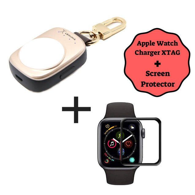Apple Watch Power Bank and Apple Watch Series 4 and Series 5 3D Tempered Glass Screen Protector Combo - GadgetiCloud