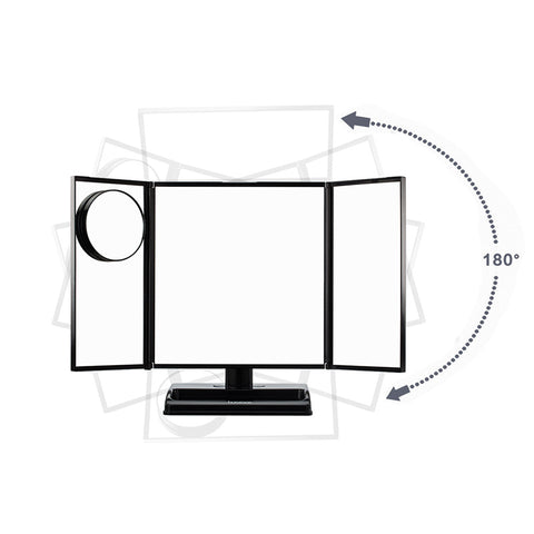 LED Lighted 3-fold Desktop Makeup Vanity Mirror - 10X Magnification - GadgetiCloud