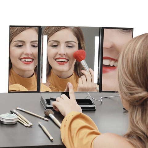 Image of LED Lighted 3-fold Desktop Makeup Vanity Mirror - 10X Magnification - GadgetiCloud