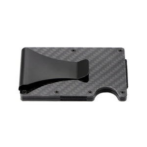 Carbon Fiber Credit Card Holder RFID Blocking Metal Money Clip
