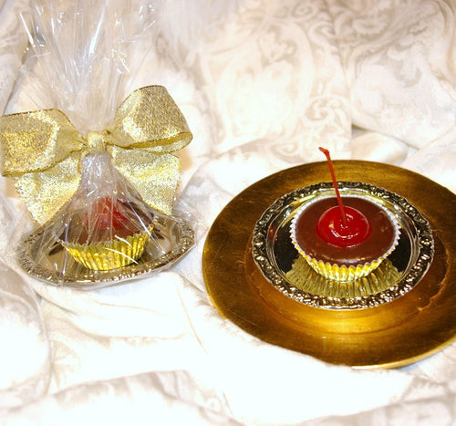 Silk Gem Favors on Silver Ring Tray (single)