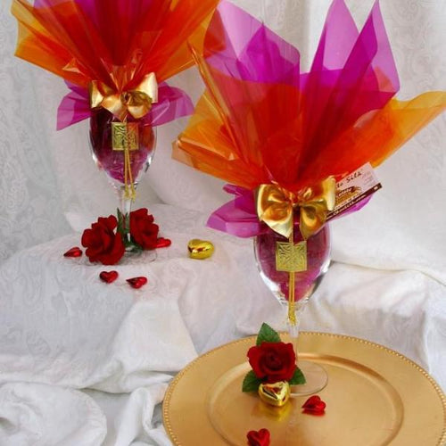 1 Pair (2) Crystal Silk Wine Glasses- (6 flavors)-24pc