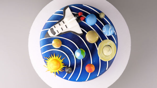 Galaxy Cake with chefmaster airbrush colors